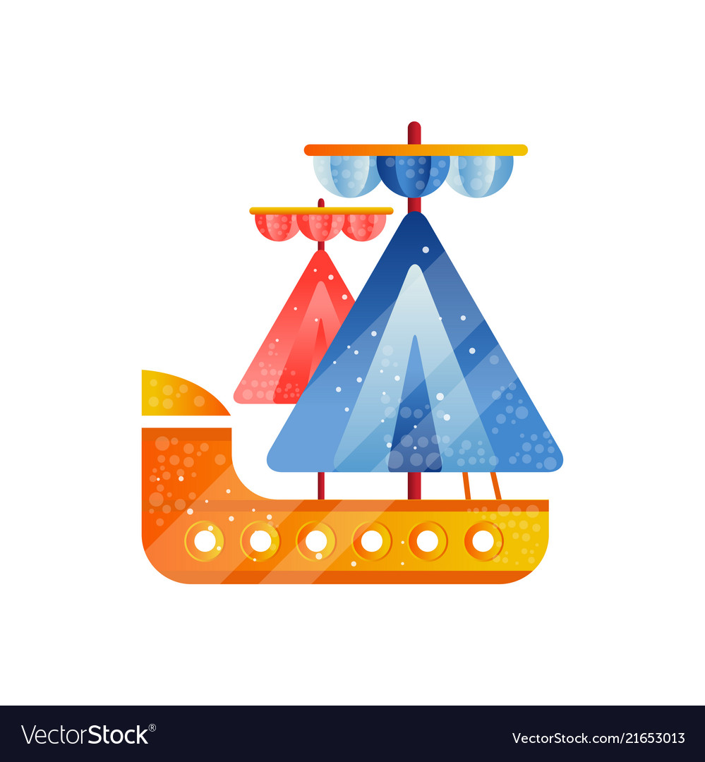 Small sailing ship with blue and red sails flat