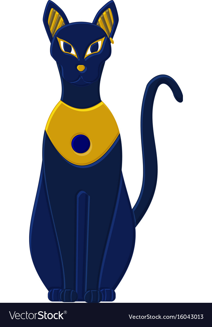 Statue Cat Egypt Goddess Bastet Egyptian Idols Vector Image