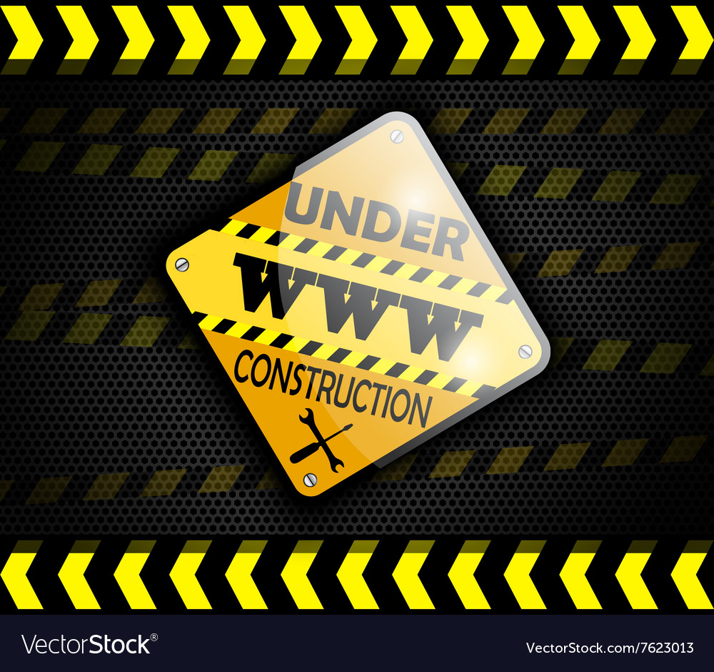 Under construction sign on background black