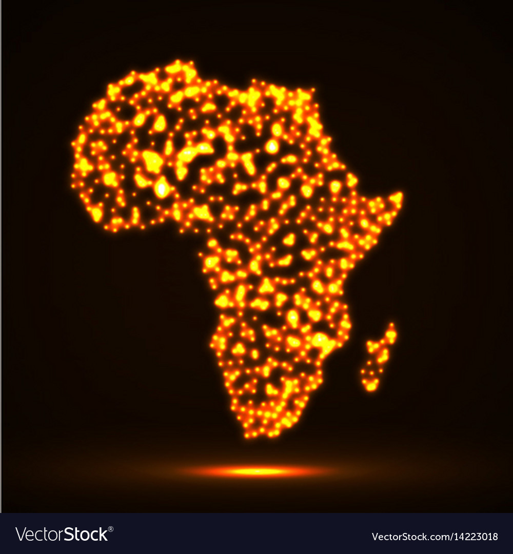 Abstract map of africa with glowing particles