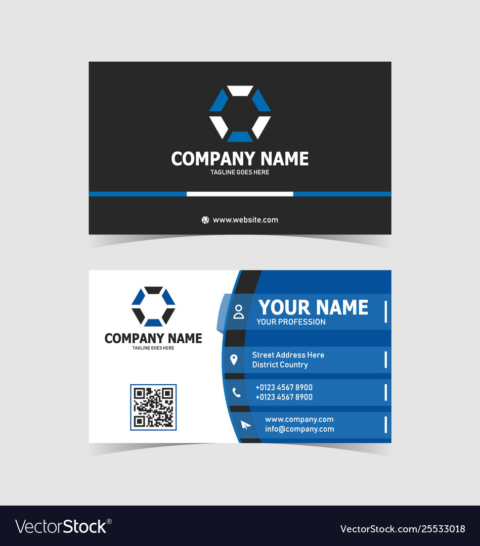 Blue modern elegant business card print template