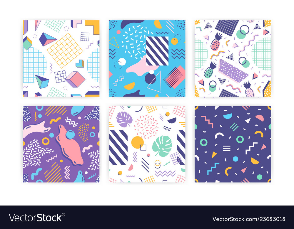 Bundle of seamless patterns with geometric shapes