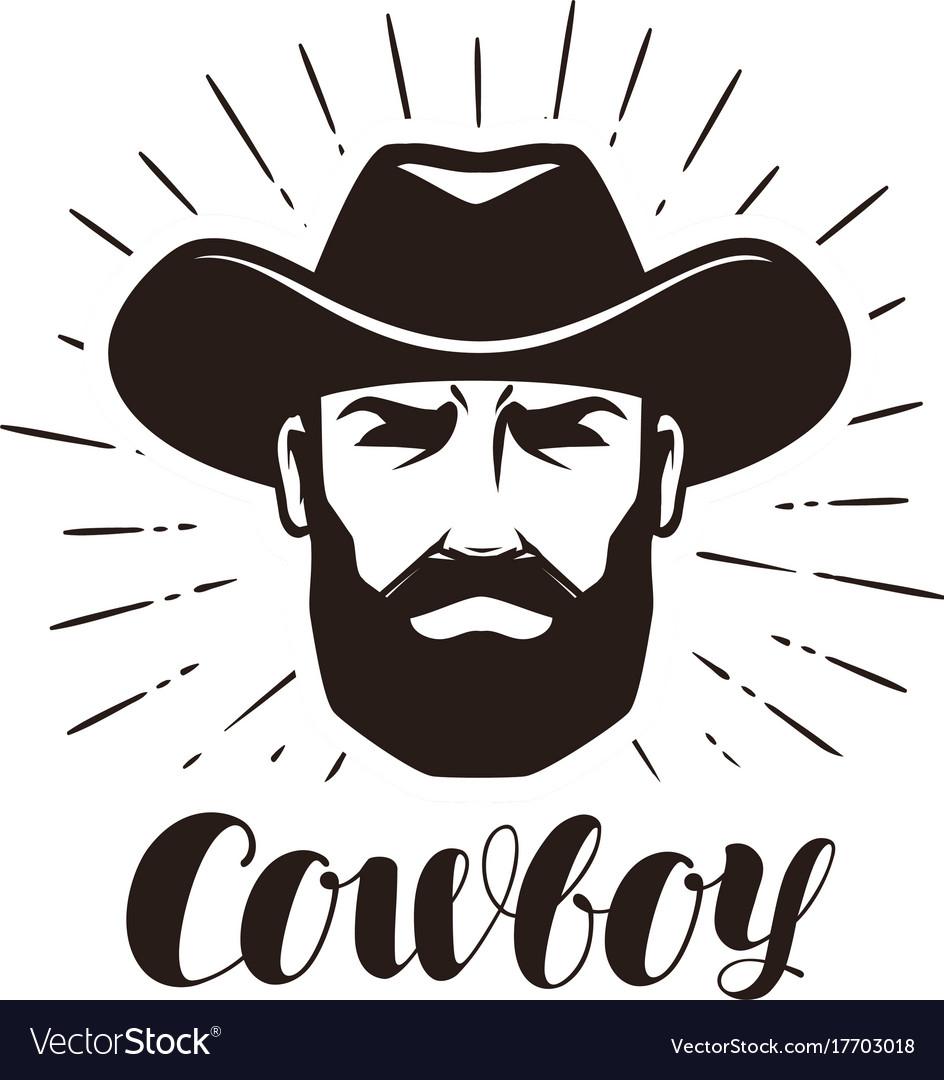 Cowboy logo or label portrait of bearded man in