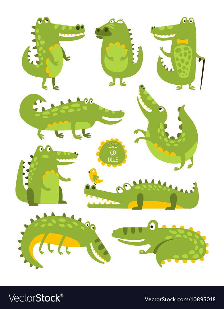 Crocodile Cute Character In Different Poses