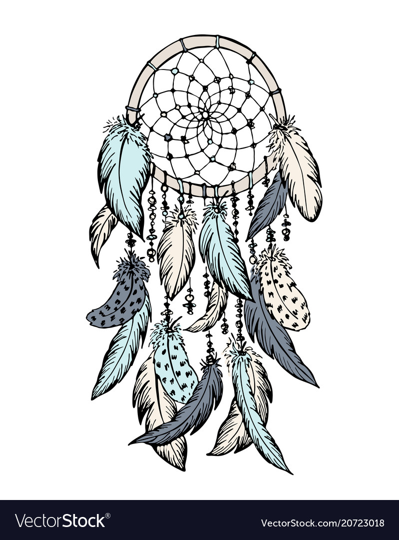 Dream Catcher Sketch Hand Drawn Royalty Free Vector Image