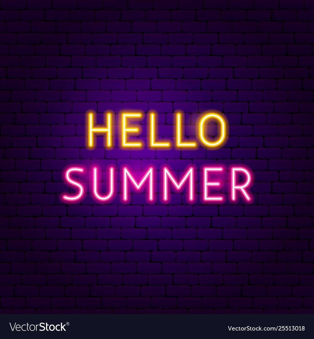 Hello summer text neon label