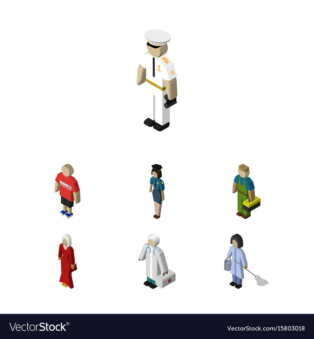 Isometric person set of policewoman plumber