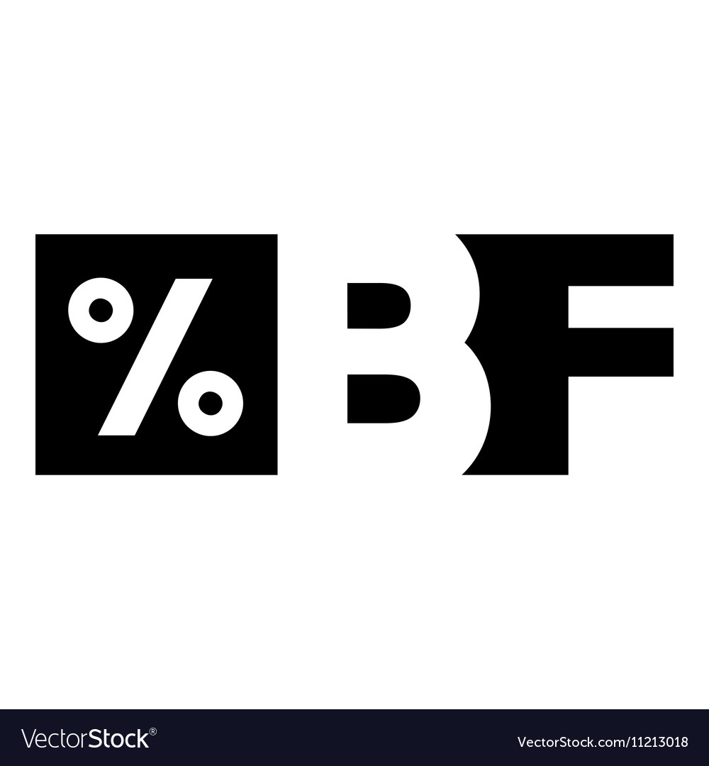 Letters BF black friday and percentage icon vector image