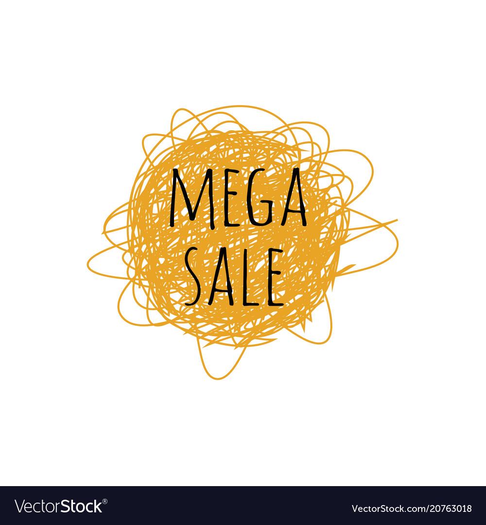 Mega sale grunge doodle sketch 90s vector image