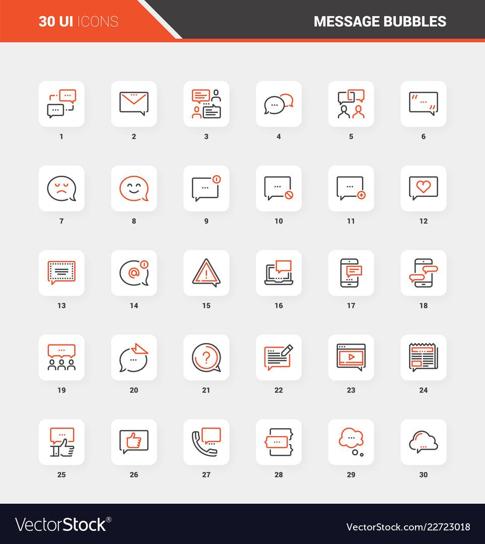 Message bubbles flat line web icon concepts