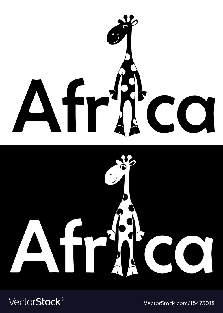 Set with cheerful giraffe isolated vector image