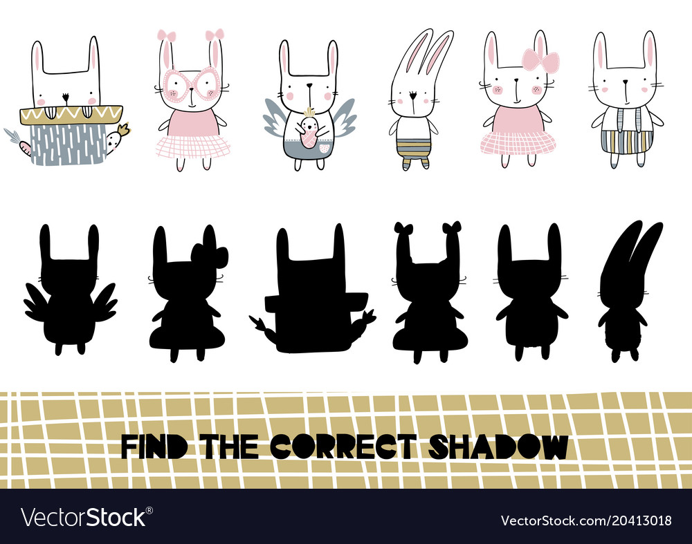 Shadow matching game for children find the