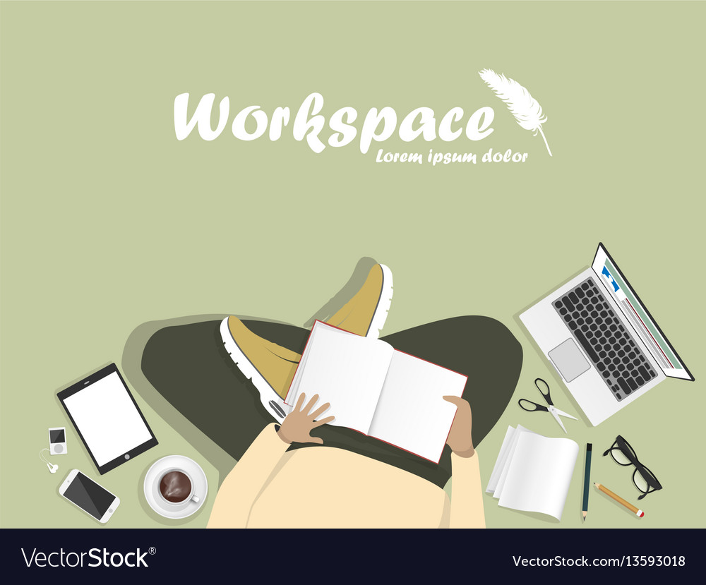 Workplace with man with laptop