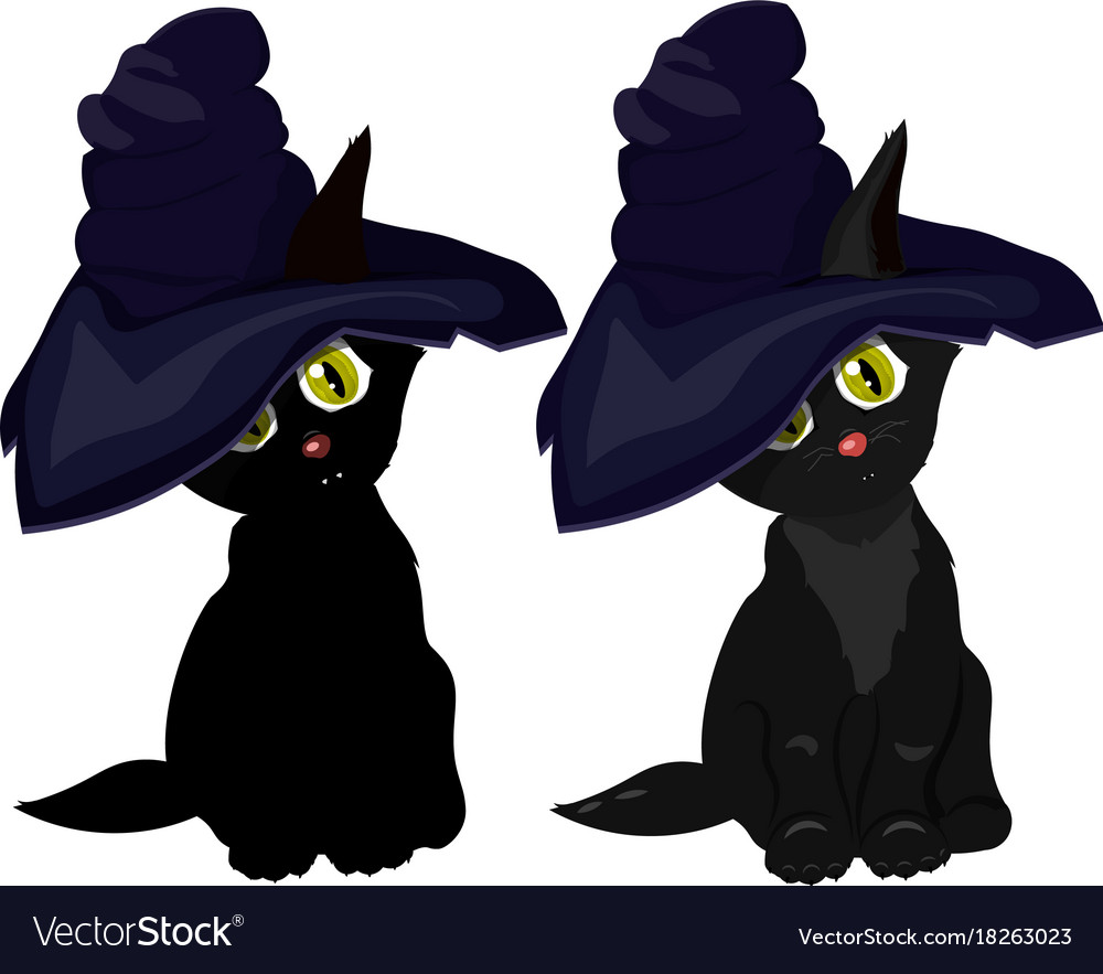 72e4f869 Black cat in witch hat on white background Vector Image