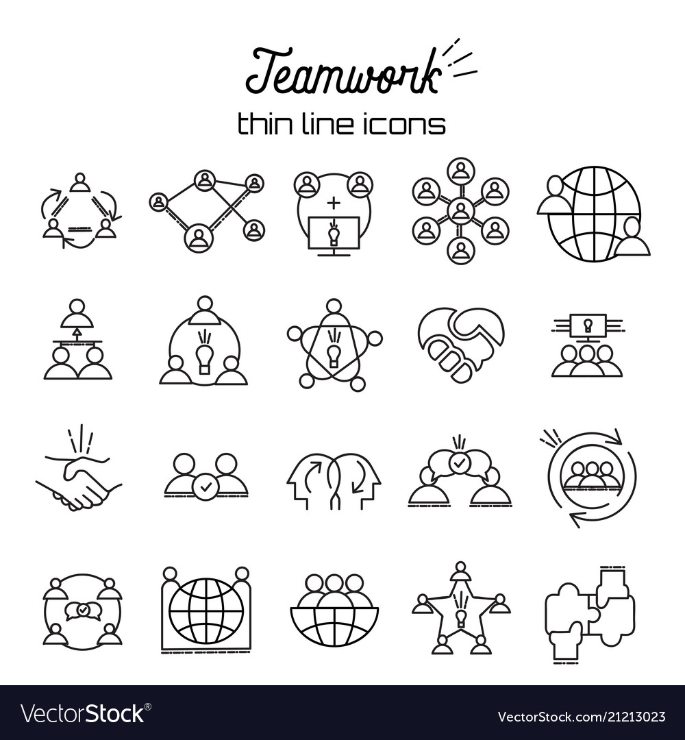 Business teamwork icon set in thin line style team