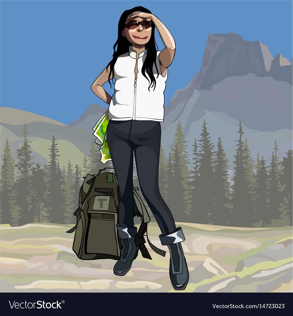 Cartoon female hiker with backpack looking