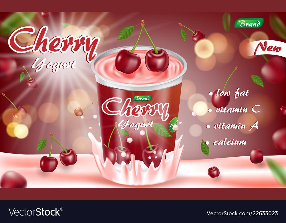 Cherry yogurt isolated on red bokeh background