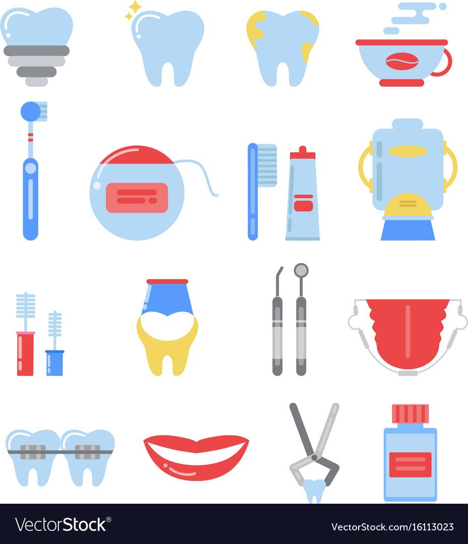 Dental icon set anatomy pictures isolate