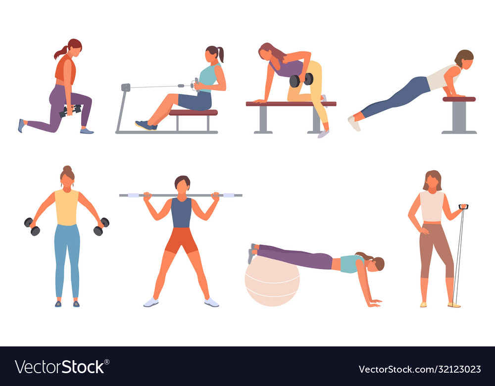 Fitness in gym set female character shakes