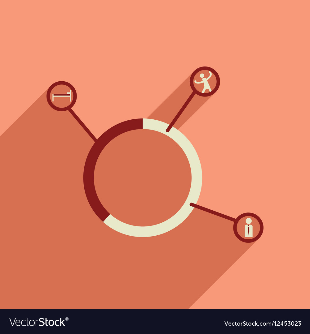 Flat web icon with long shadow businessman chart