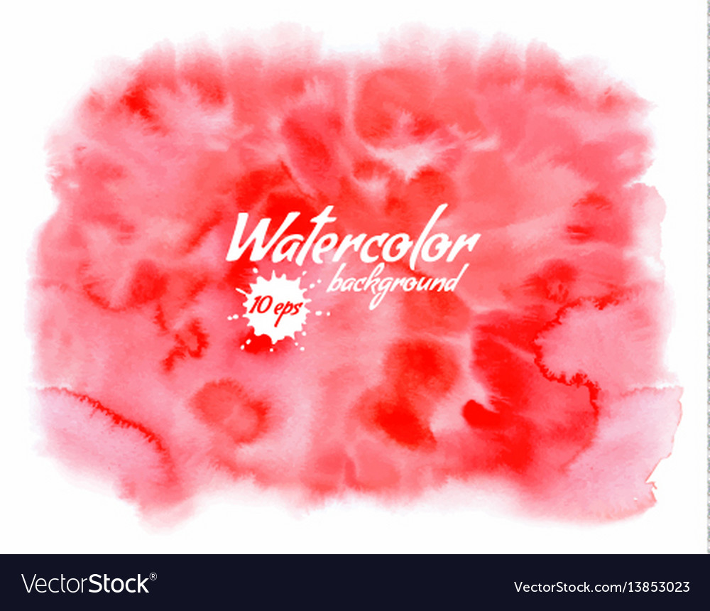 Handpainted red watercolor background with space vector image