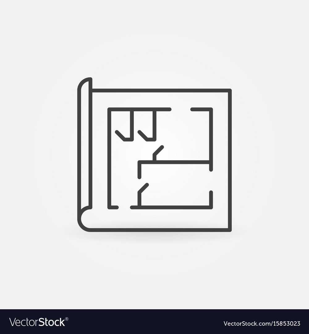 House plan line icon vector image