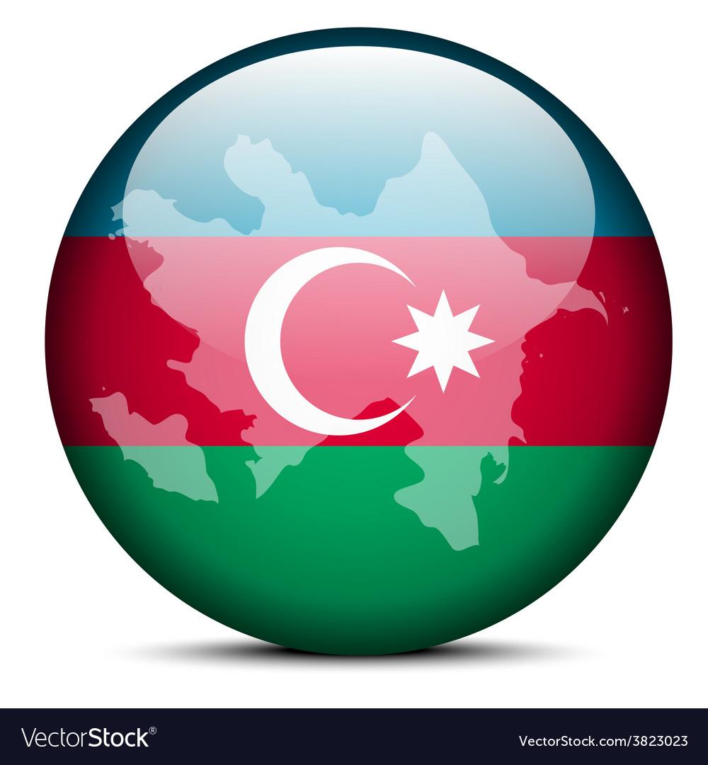 Map On Flag Button Of Republic Of Azerbaijan Vector Image