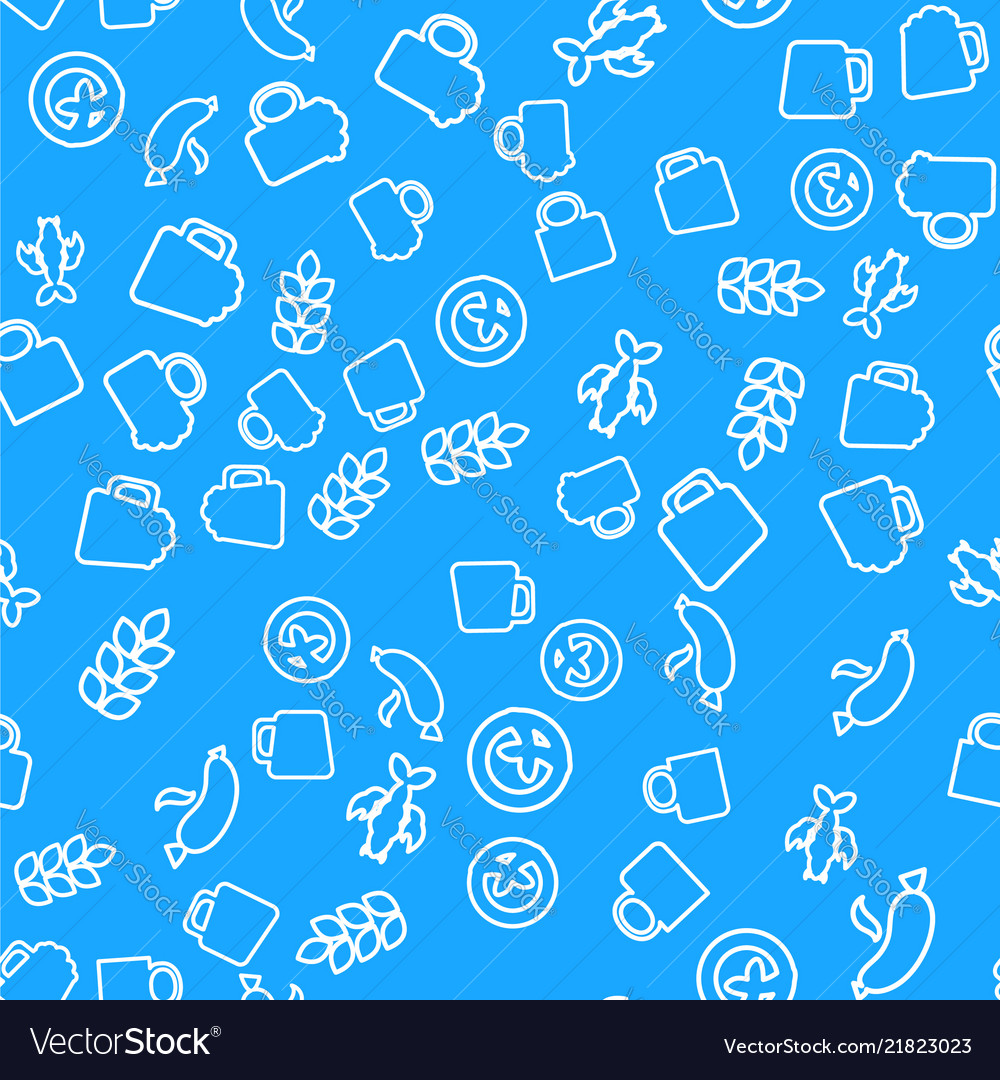 Oktoberfest seamless pattern with drink and food