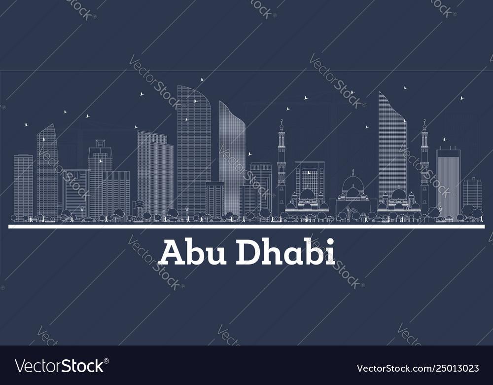 Outline abu dhabi uae city skyline with white