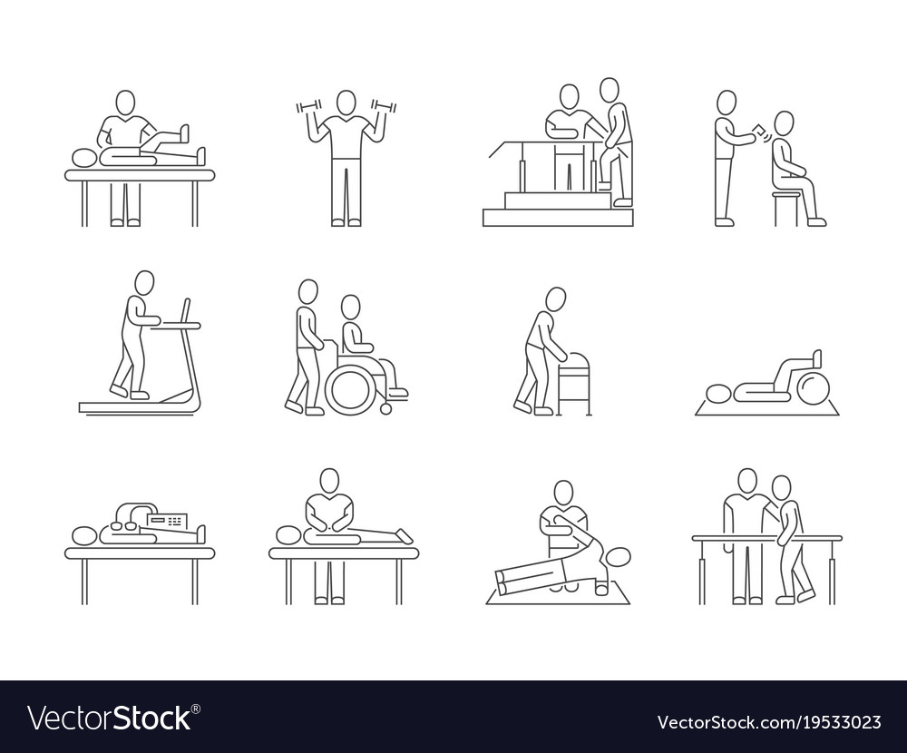 Physiotherapy and rehabilitation exercises and vector image