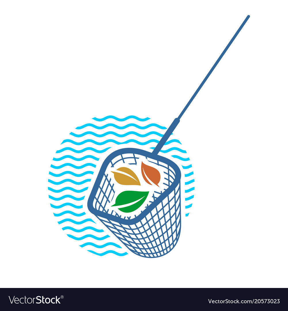 Pool cleaning net logo with leaves vector image