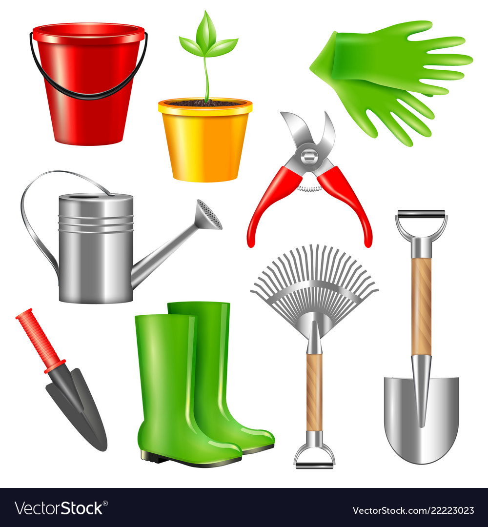 Realistic Gardening Tools Set Royalty Free Vector Image