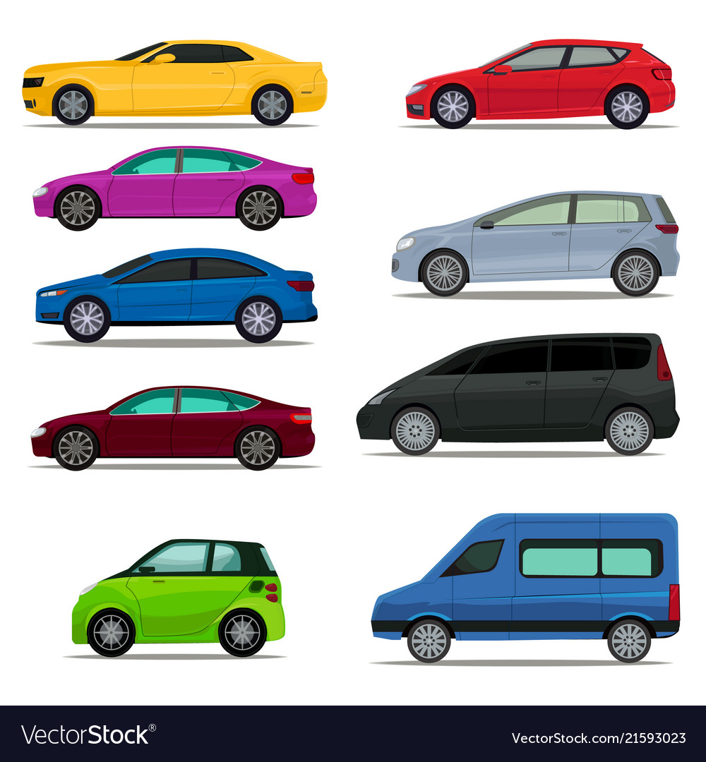 Set Of Different Types And Models Of Cars Vector Image