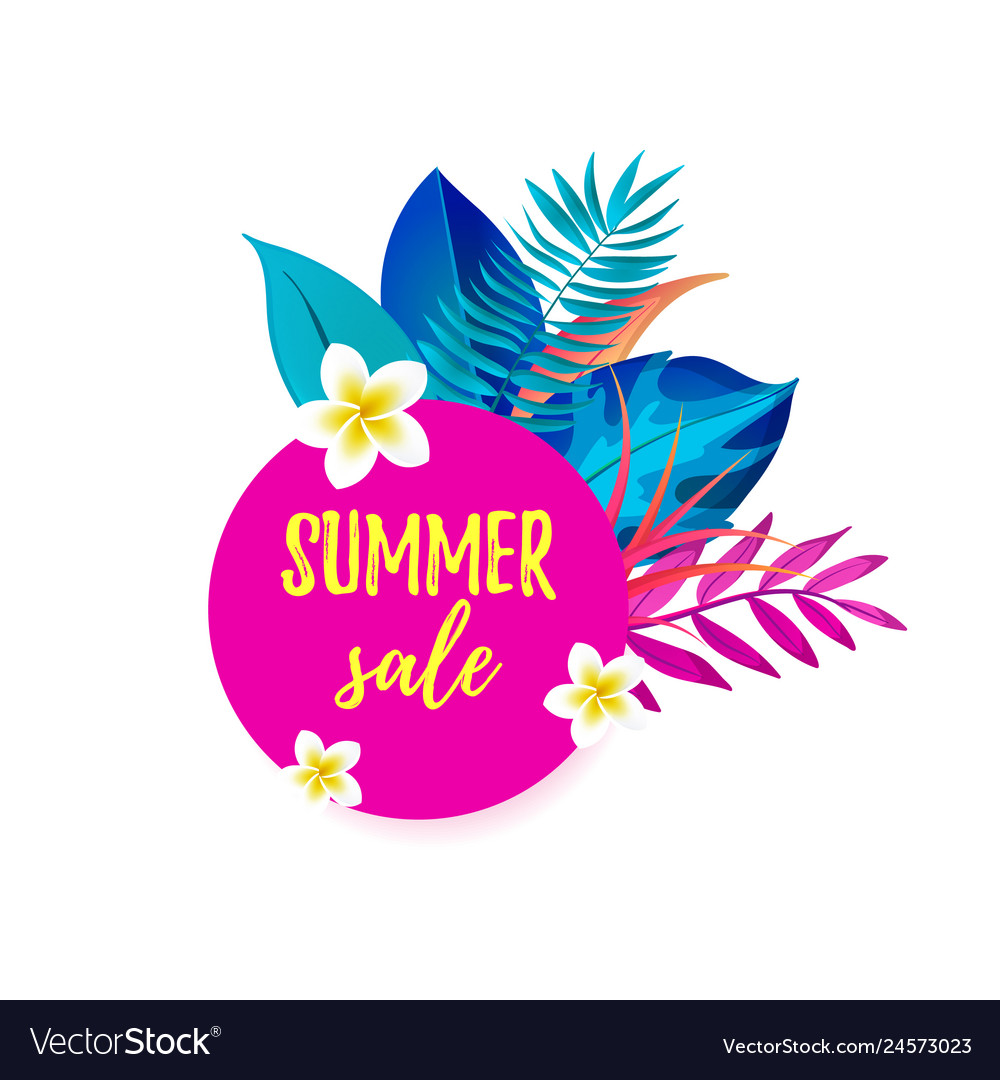 Summer sale cartoon speech bubble with realistic