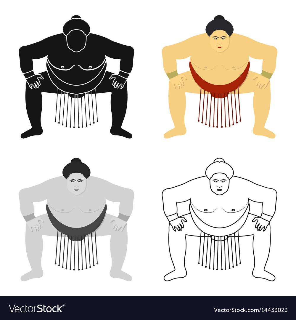 Sumo wrestler icon in cartoon style isolated on