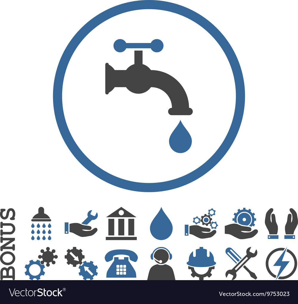 Water Tap Flat Rounded Icon With Bonus
