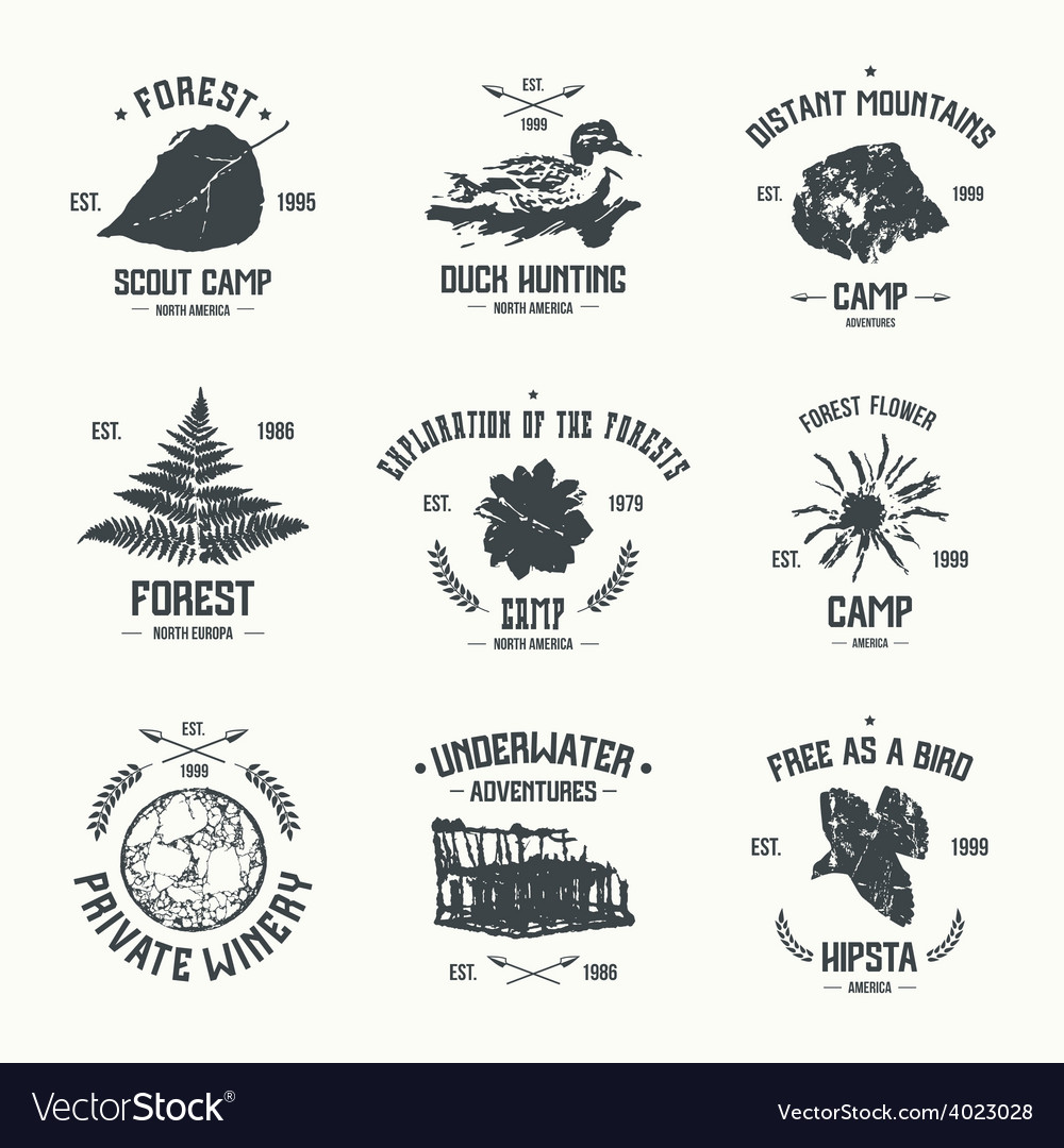 Adventure camp emblems