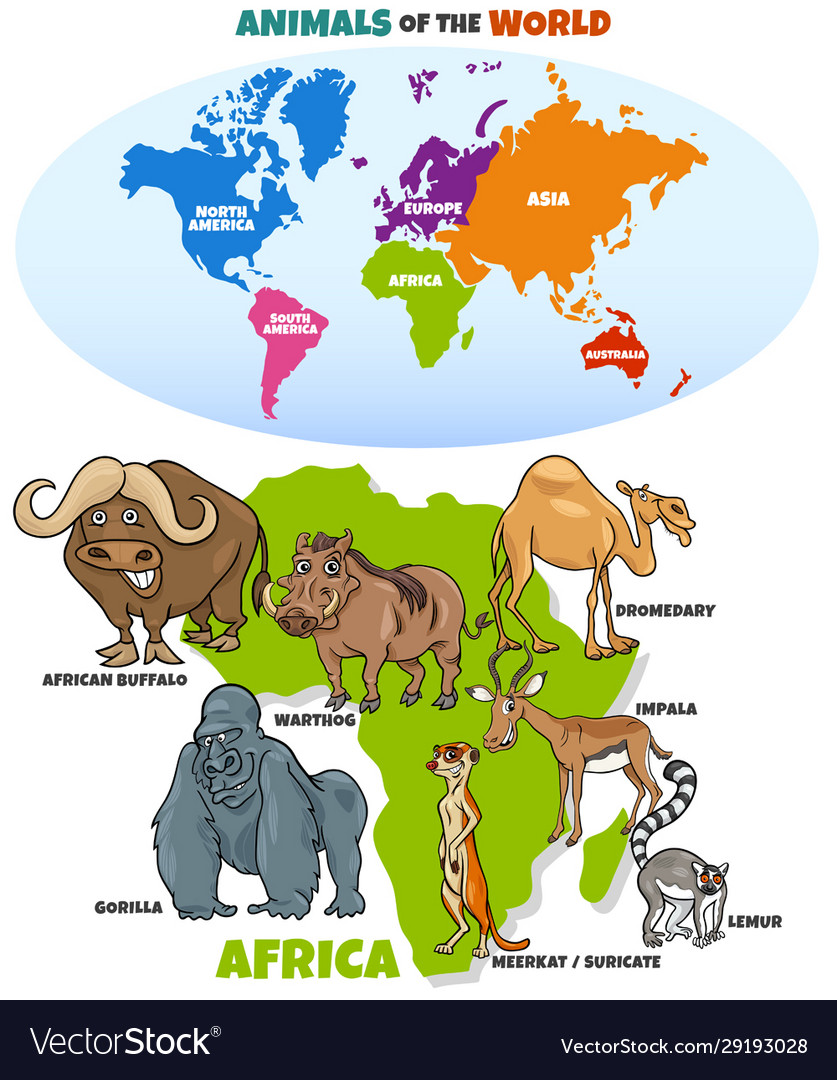 Educational funny african animals