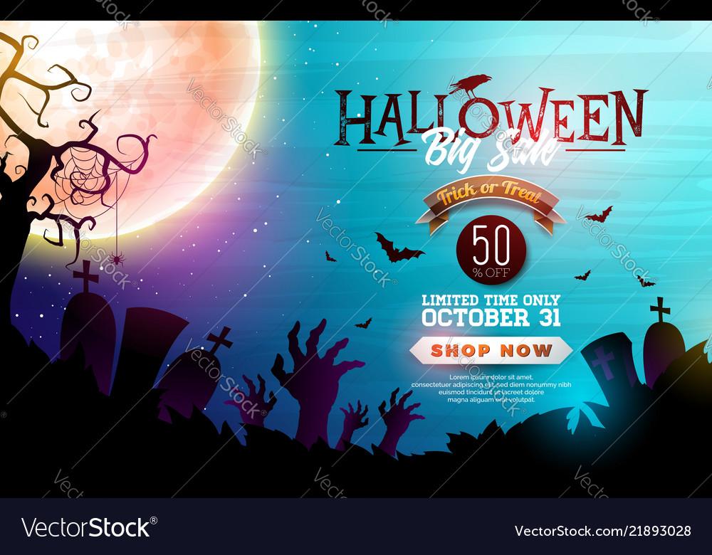 Halloween sale banner with moon crow