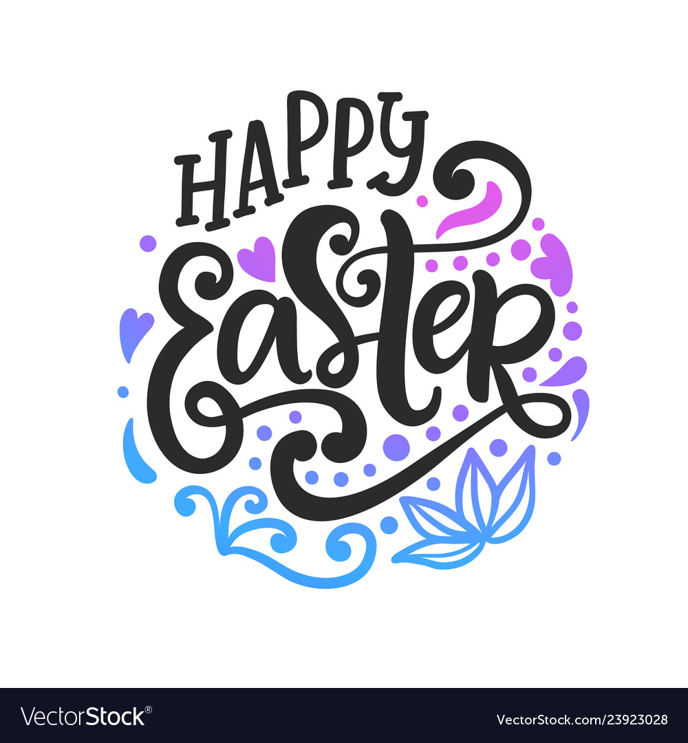 Happy easter badge emblem with lettering