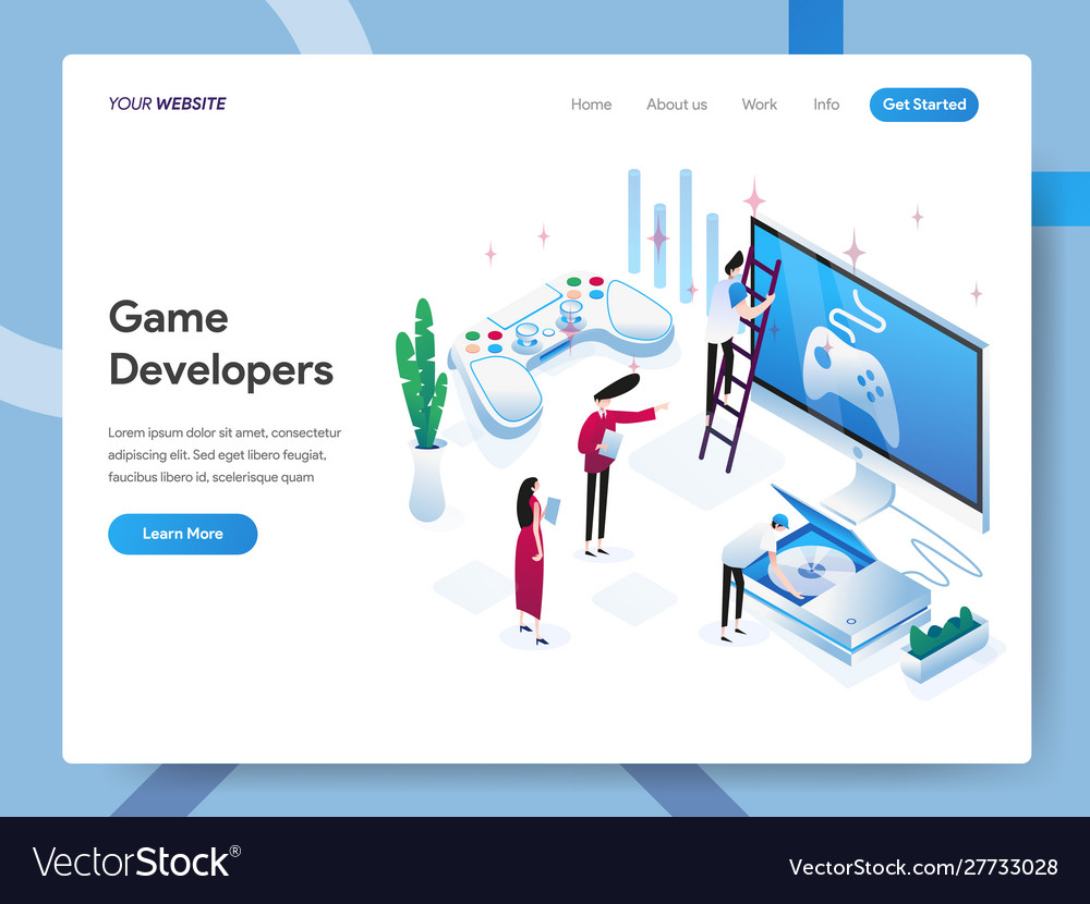 Landing page template game developers