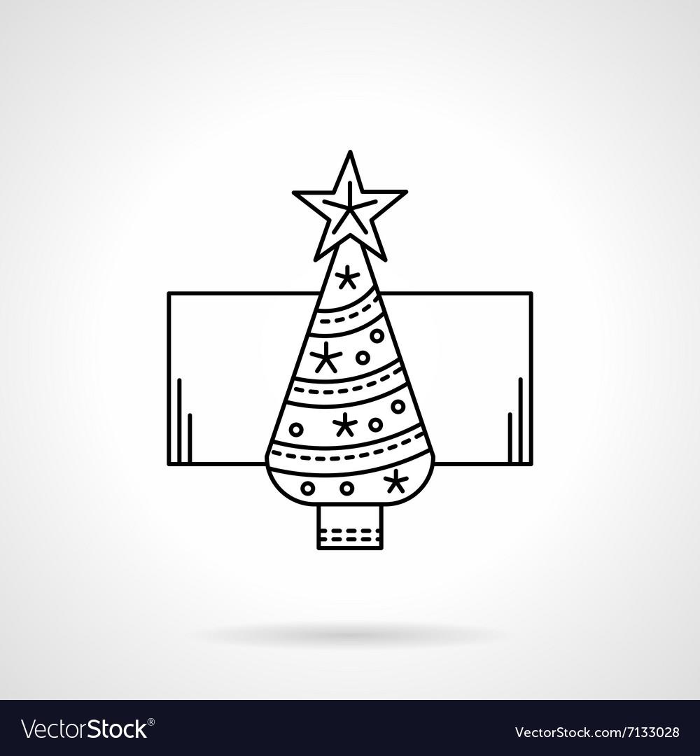 New Year tree black flat line icon vector image