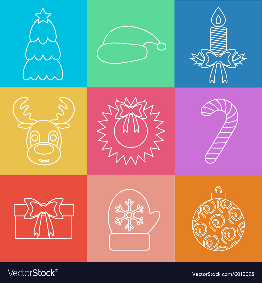 Set of Christmas icons outline Multicolored