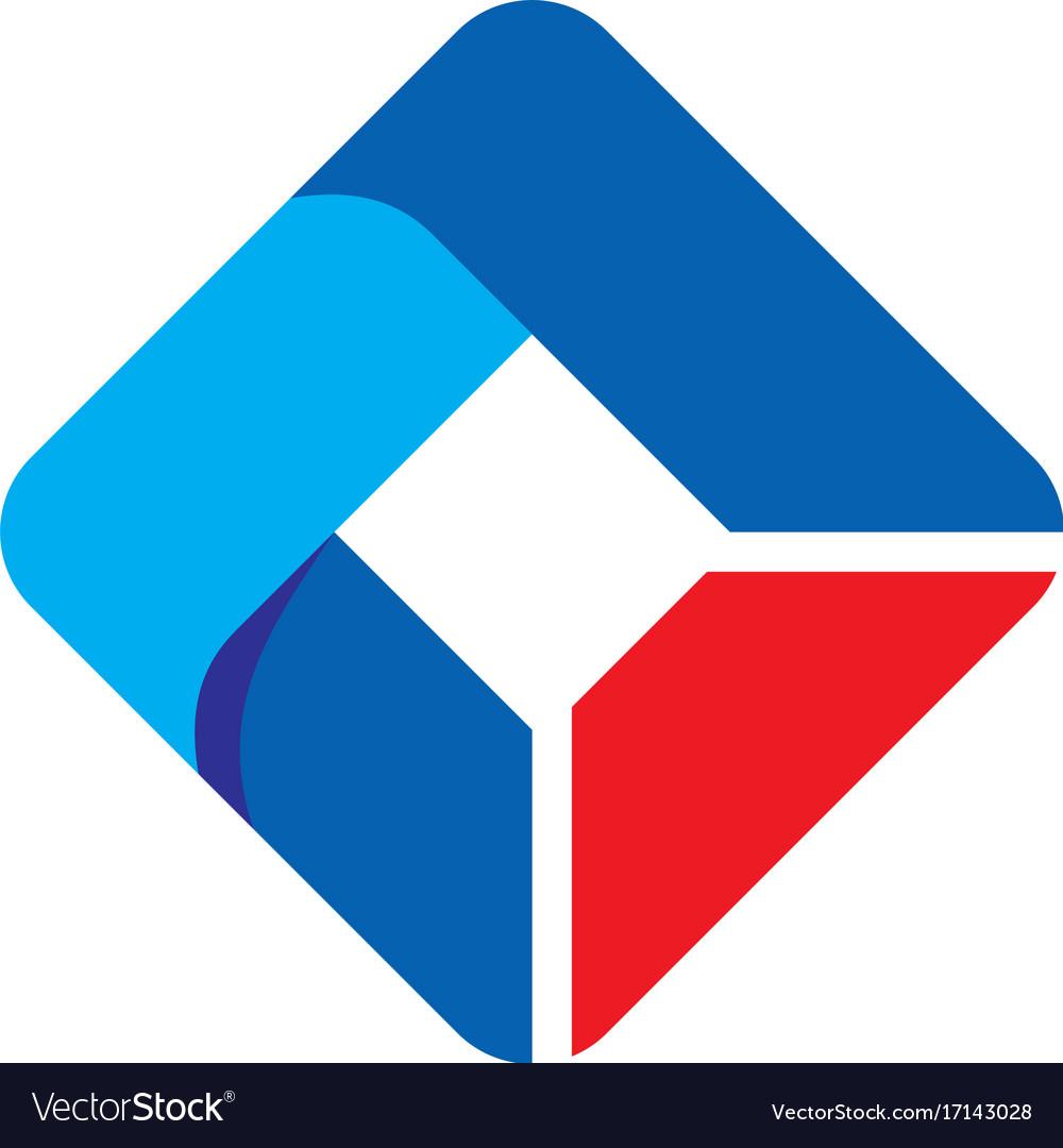 Square abstract ribbon technology logo