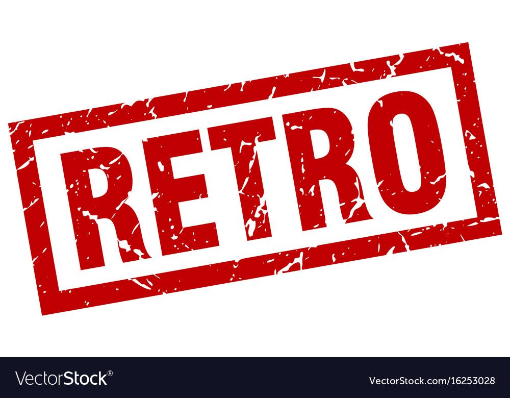 Square grunge red retro stamp