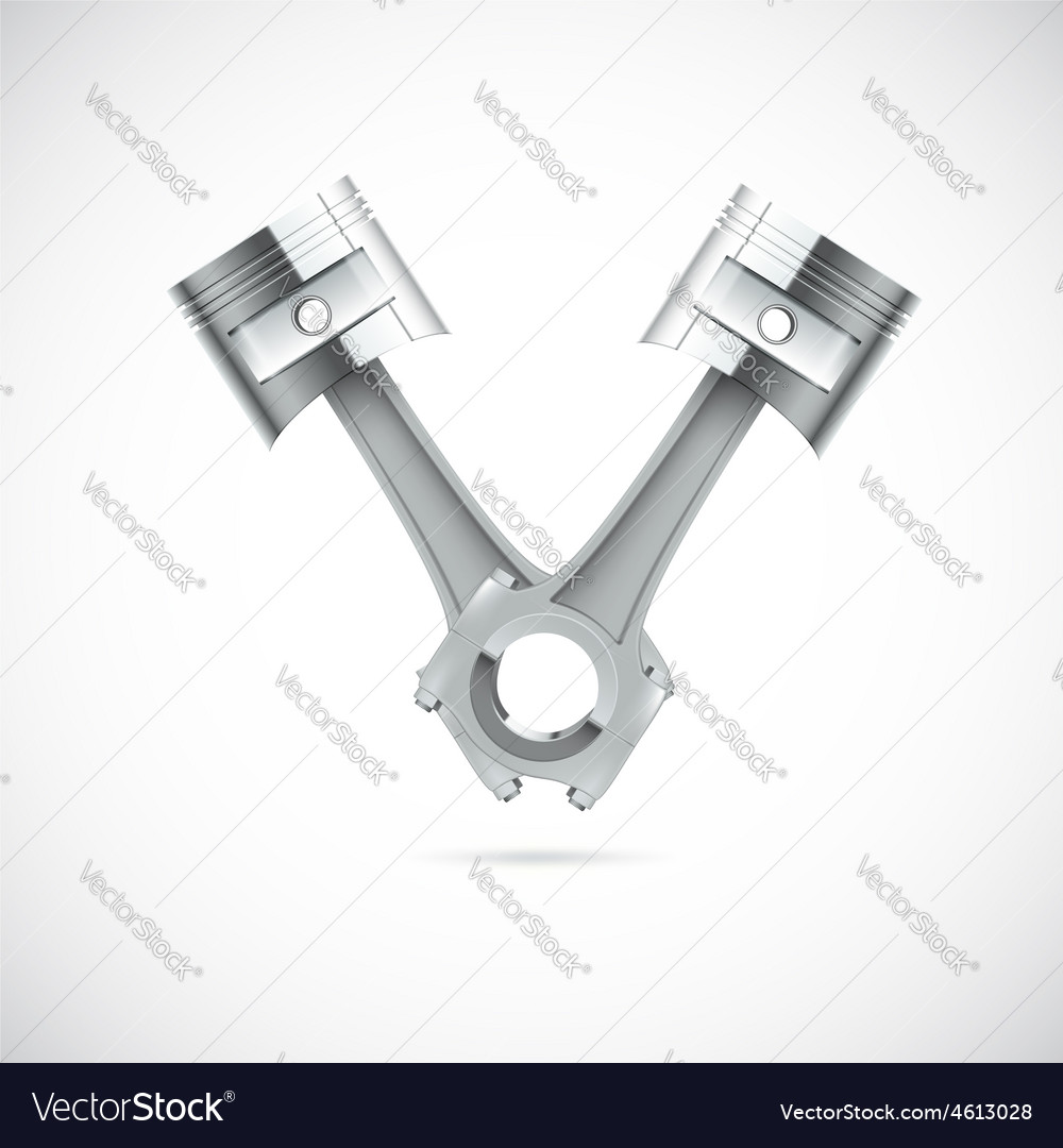 Two pistons white background