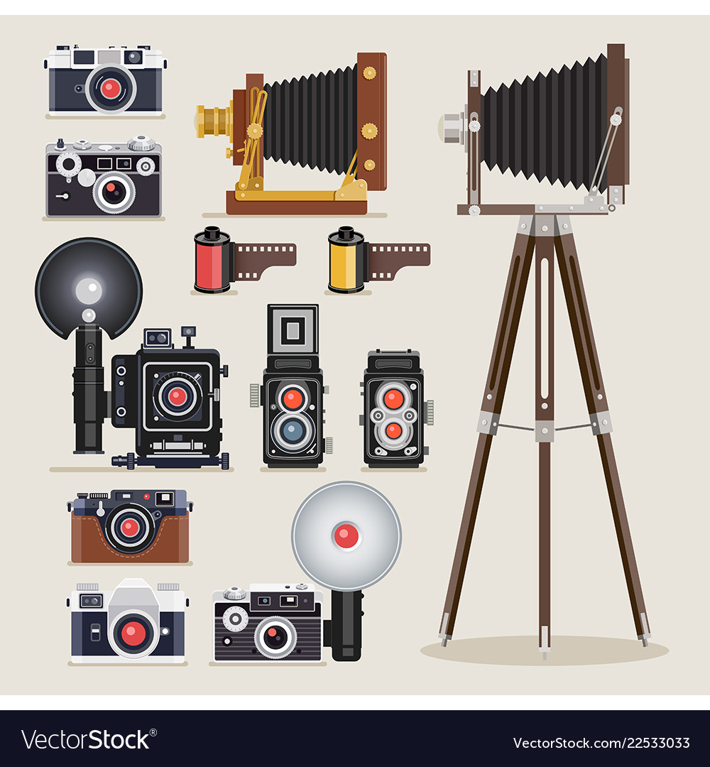 Antique camera flat icons