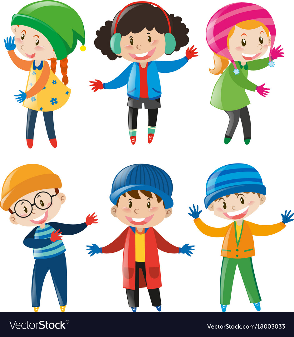 83cb2367a43c Boys and girls in winter outfit Royalty Free Vector Image