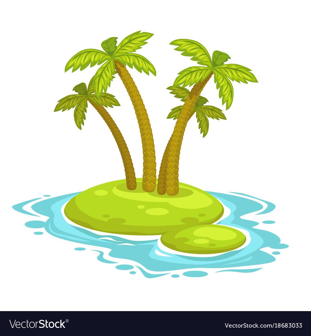 Cartoon island with palms vector image