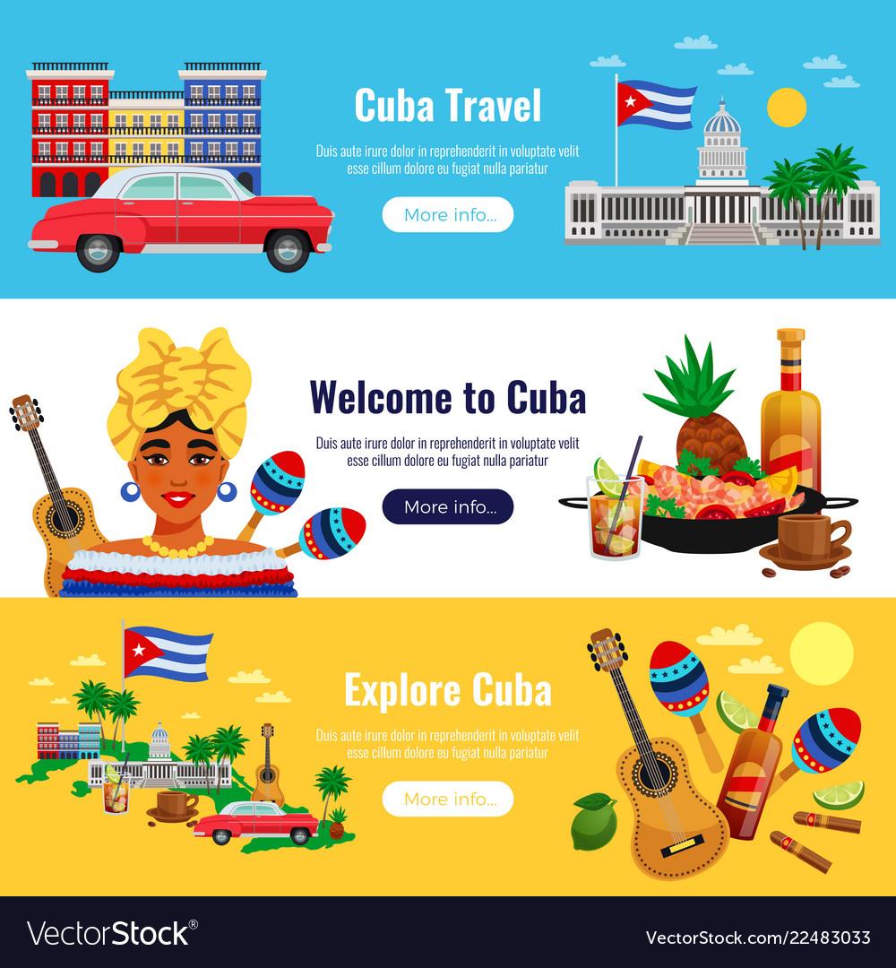 Cuba travel banners set